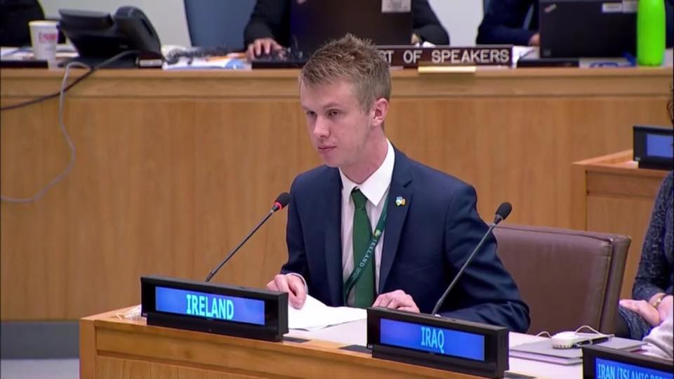 Desmond College Past Pupil Jack O'Connor Addressing the United Nations General Assembly in New York City (seated man wearing suit speaking into microphone)
