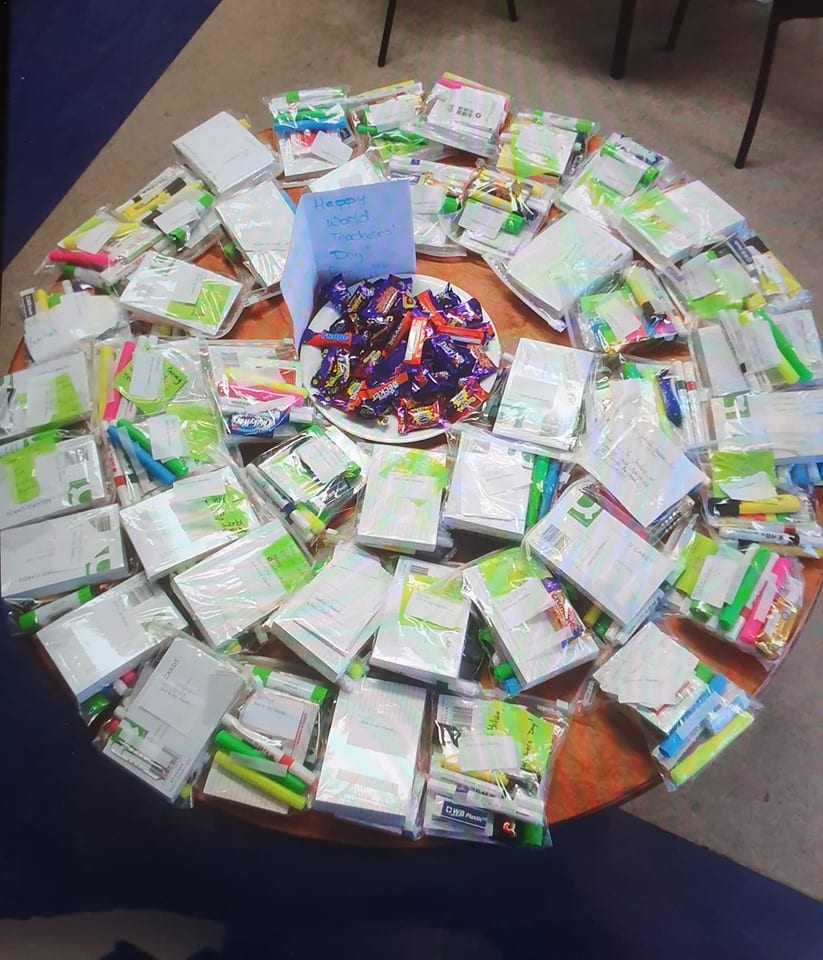 A table of gifts given to the teachers of Desmond College to Celebrate World Teachers' Day