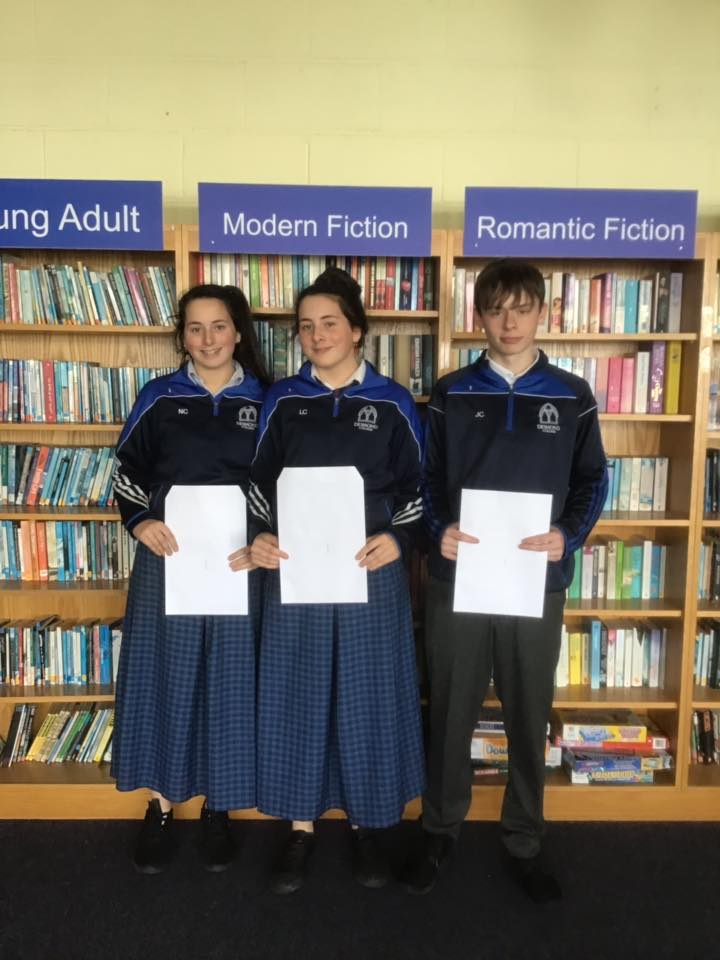 Desmond College students in School Library delighted with their results