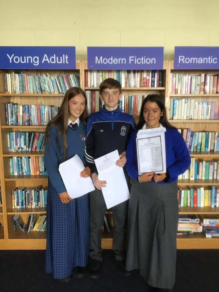 Students in Desmond College Library showing their results