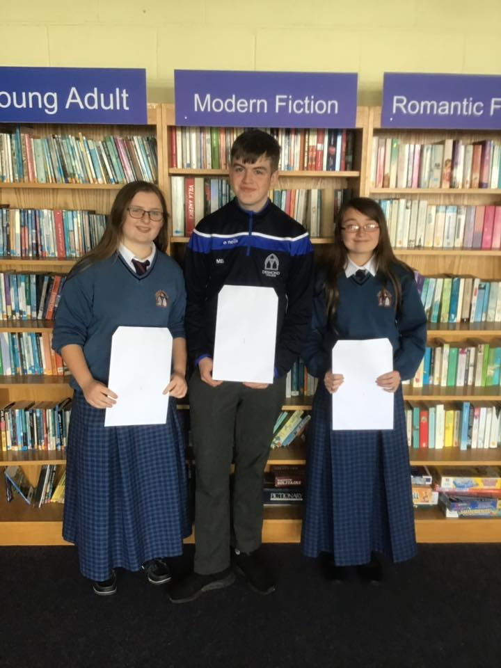Desmond College students in School Library proud of their results