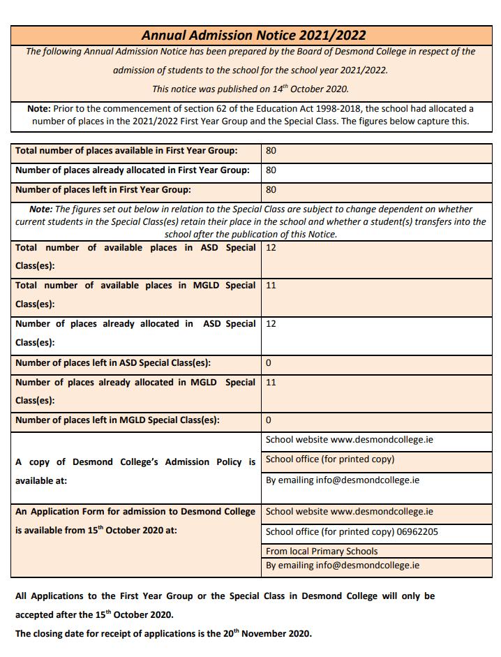 Desmond College Admission Notice PDF