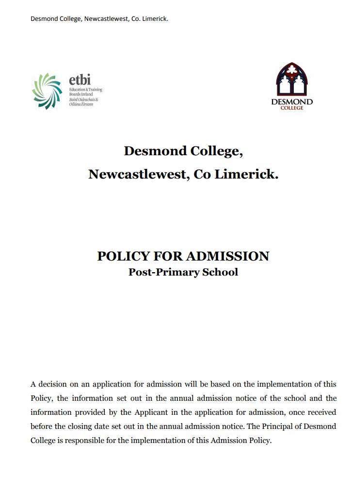 Desmond College Admission Policy 2020 PDF